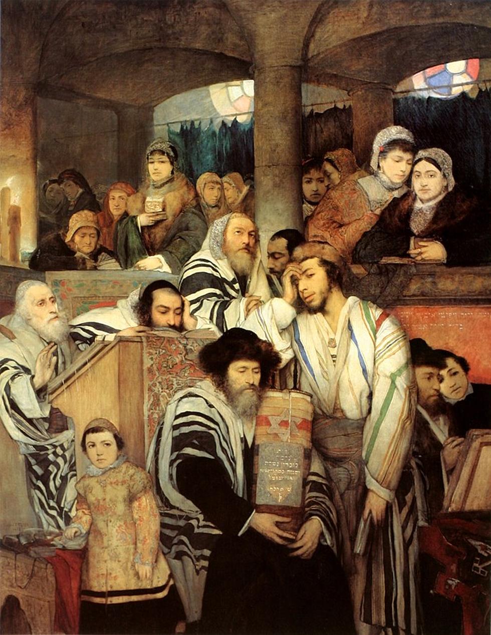 """""""יהודים מתפללים בבית כנסת"""". יצירתו של גוטליב (""""יום כיפור"""", אליהו אריק בוקובזה)"""