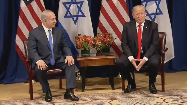 Netanyahu and Trump at the UN, Monday. The Israeli prime minister has turned his meetings with US presidents into a reality show (Photo: Reuters)