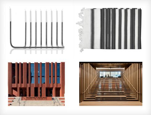 מקורות ההשראה לחזית ולפנים: מנורה וטלית (דימויים: Stanley Saitowitz/Natoma Architects Inc צילום: Richard Barnes and Stanley Saitowitz)