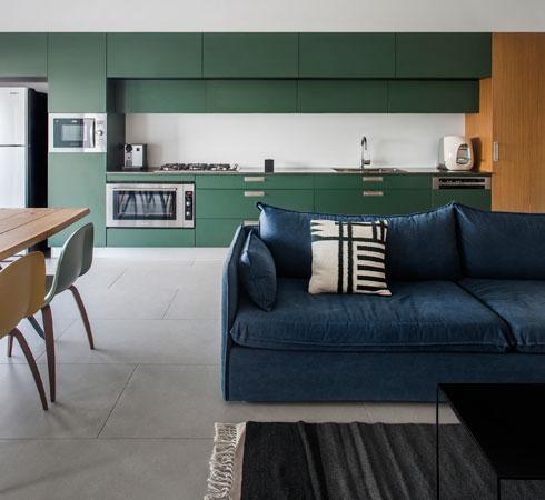 מטבח באורך 6 מטרים, בעיצוב רוני קרן. אורך הסלון 6 מטרים בלבד, ולכן תוכנן מטבח כפס אחד, מקצה לקצה (צילום: יואב גורין)