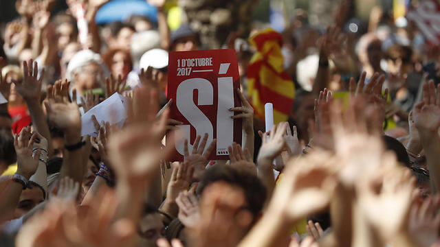 Pro-independence rally at Catalonia's capital, Barcelona (Photo: EPA)