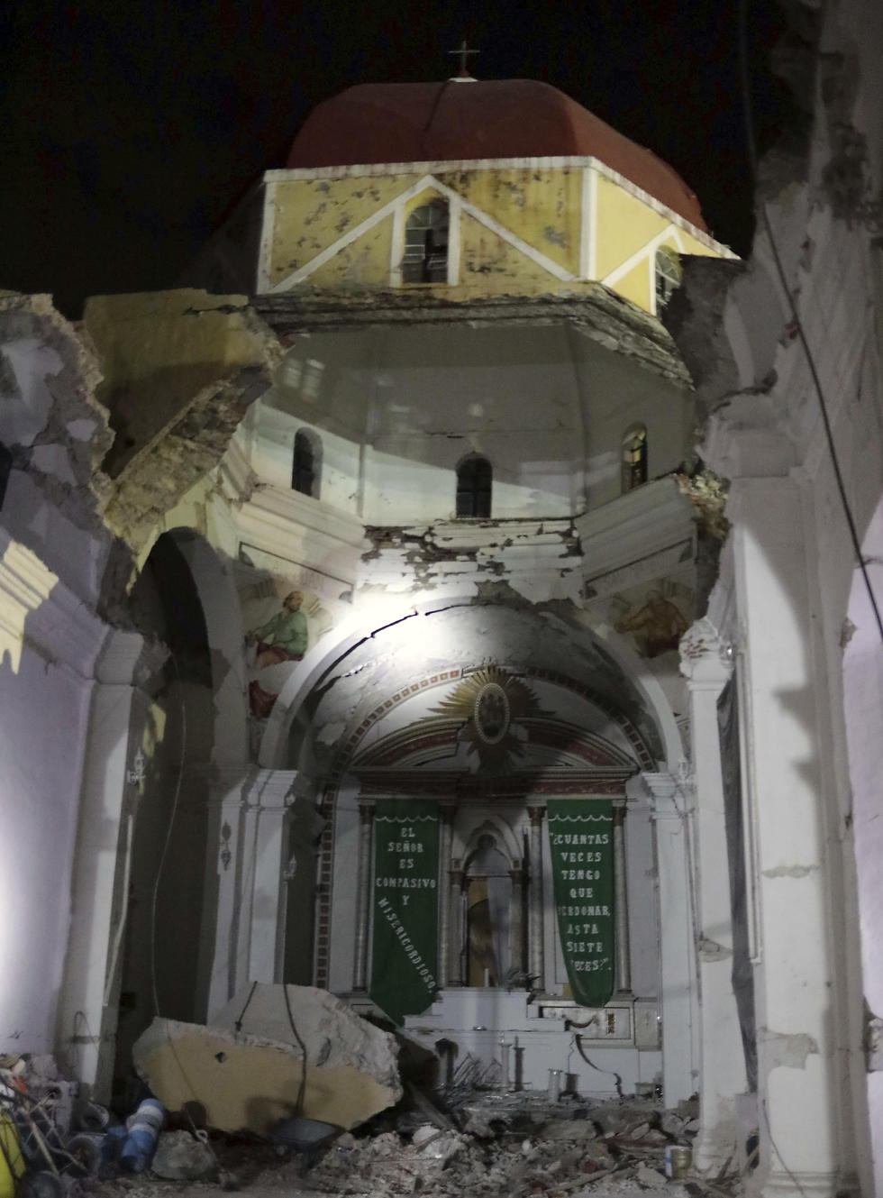 The collapsed church in Atzala (Photo: AP) (Photo: AP)