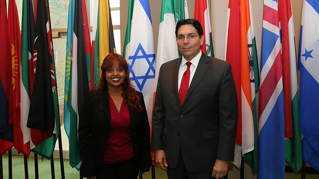 Danielle Daseta and Danny Danon at the United Nations