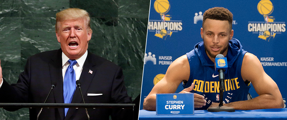 President Trump (L) butted heads with the Warriors' Curry (Photo: Reuters, AP) (Photo: Reuters, AP)