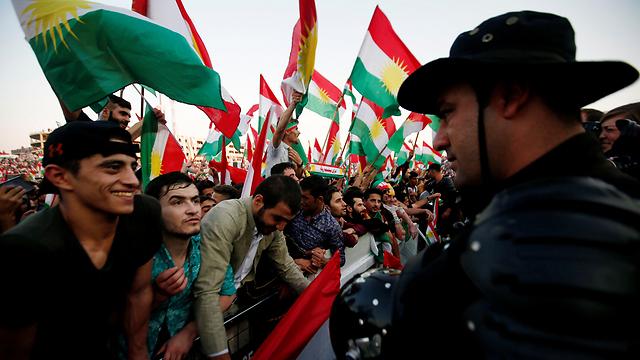 תומכי עצמאות כורדיסטן בעיר ארביל (צילום: רויטרס)