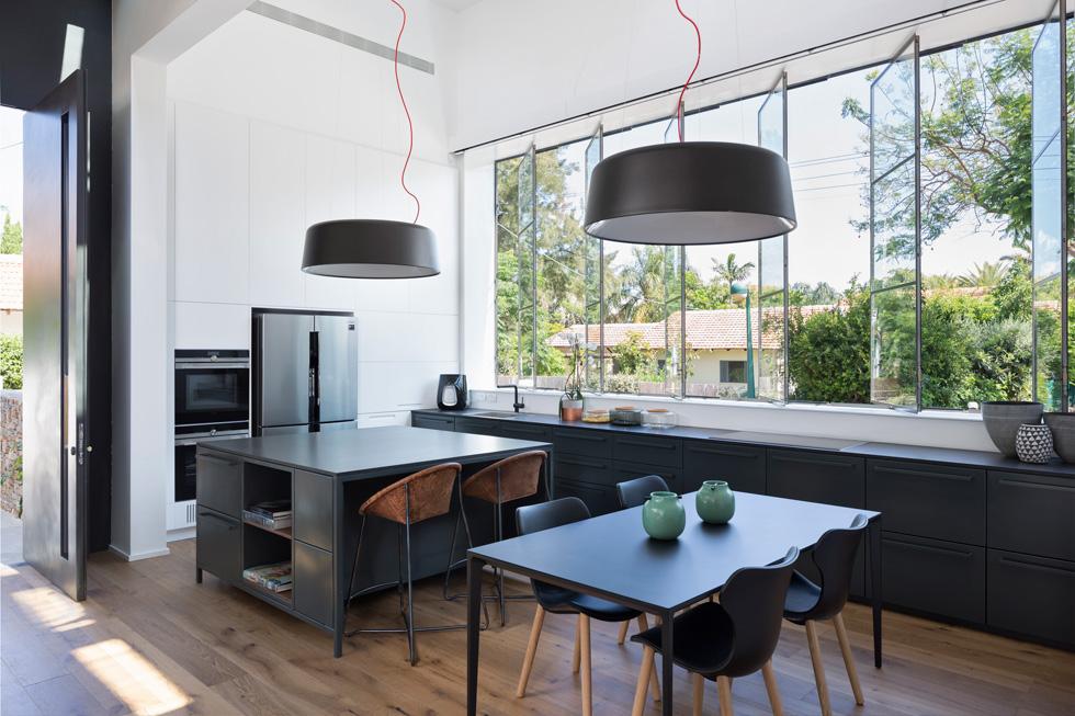 דלת הכניסה נפתחת בין המטבח לסלון, וכמו האי וארונות המטבח - גם היא עשויה ברזל שחור (צילום : שי אפשטיין)