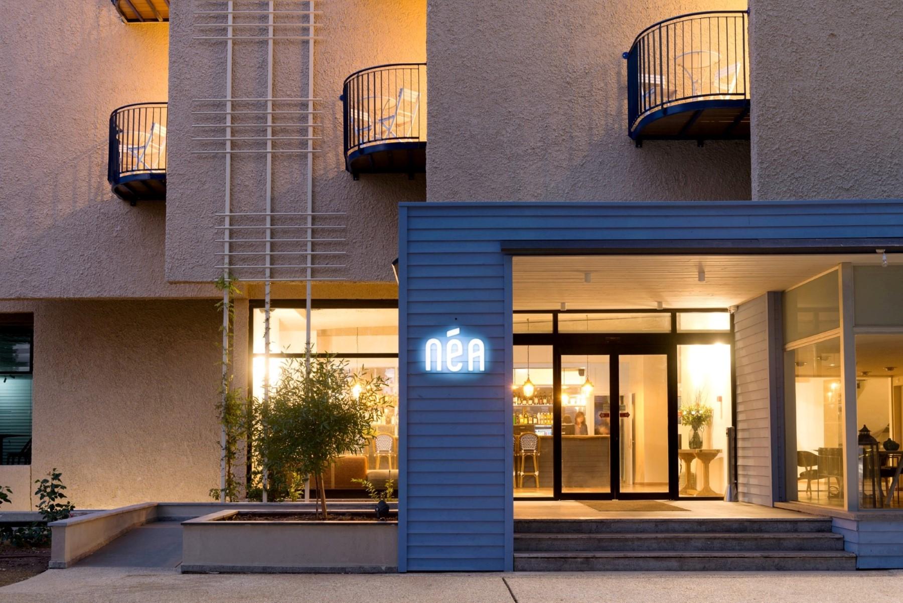 הכניסה המחודשת למלון ניאה במבנה המשופץ (צילום: גדעון לוין) (צילום: גדעון לוין)