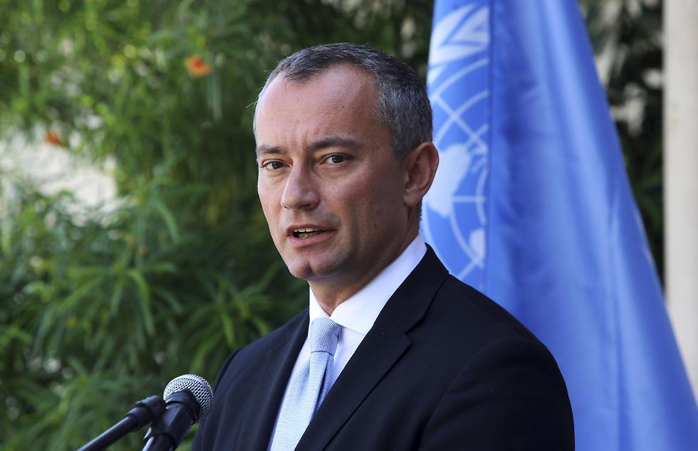 """שליח האו""""ם ניקולאי מלדנוב, אתמול (צילום: AP)"""