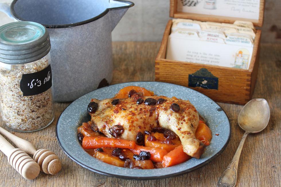 תבשיל עוף ובטטות בדבש וצ'ילי גרוס (צילום, סגנון והכנה: אסנת לסטר)