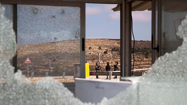 Scene of the attack in Har Adar (Photo: AP)