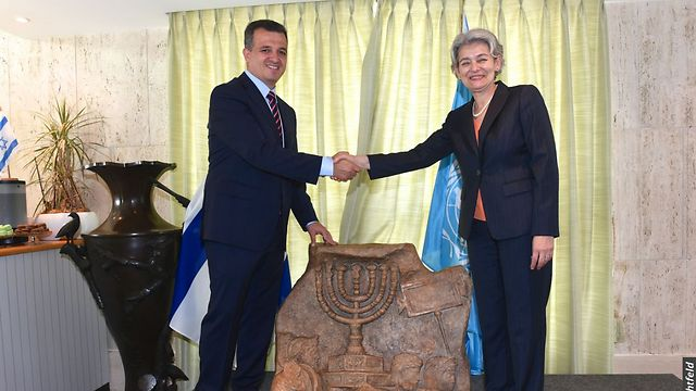 Israel UNESCO envoy Shama-Hacohen (L) with Director Bokova (Photo: Erez Lichtfeld) (Photo: Erez Lichtfeld)