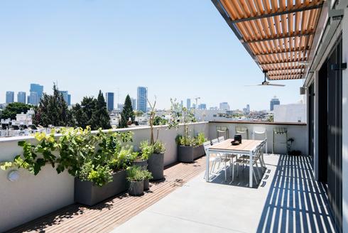 נוף עירוני מהמרפסת הקדמית. הבר המותקן על המעקה פונה מערבה, ומאפשר צפייה נוחה בשקיעה. עציצי התבלינים מזכירים את השורשים במושב  (צילום: אביעד בר-נס)