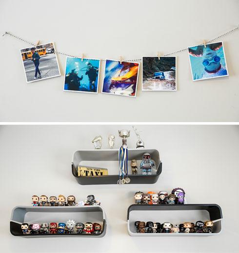 על הקיר בחדרו של דן: צילומים ואוסף בובות פופ (צילום: ענבל מרמרי)