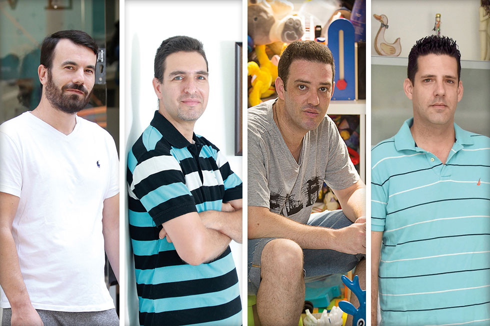 """חברי קבוצת """"אבות IVF"""". מימין: אמיר טראו, מי-רן אוסטרוביאק, איל באב""""ד ואבשלום כהן (צילום: גיל נחושתן, דנה קופל, יאיר שגיא, יריב כץ)"""