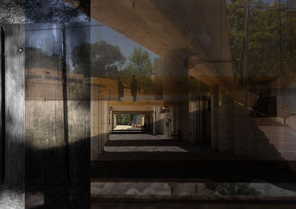 מרווחים. קולאז'ים שמחברים בין  מבני ציבור לשכונות מגורים  (יצירה: יעל בן דוד, יובל אלבק, מרווחים, C print , 2017)