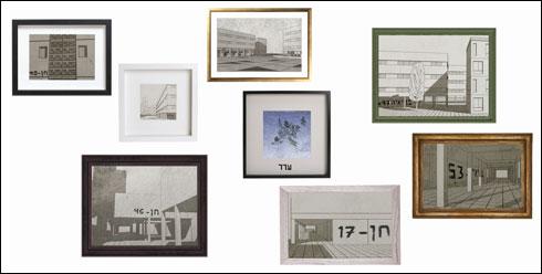 רישומי עפרון  רגישים של פרטים קטנים  (יצירה: אריה חיון, אור ברינדט,רונן טוקר, טביעת היד האנושית 2017,C print)