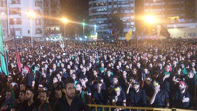 Thousands of Hezbollah supporters watch Nasrallah's speech