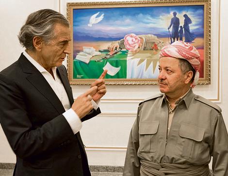 Bernard-Henri Levy meets with Kurdish President Massoud Barzani, September 25, 2017 (Photo: Marc Roussel)