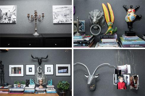 """""""אני מאוד אוהבת את קיר ההשראה שלי בסלון, שהוא כמו קנבס, שמשתנה כל מספר חודשים"""" (צילום: ענבל מרמרי)"""