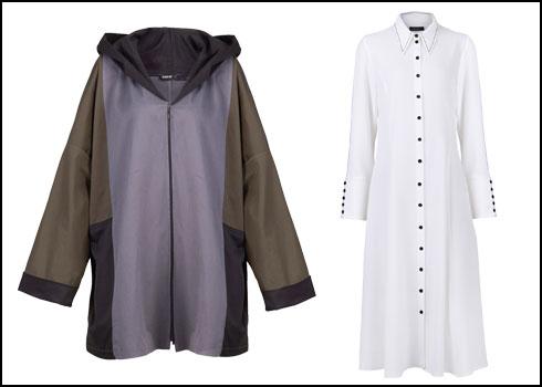 שמלת מקסי לבנה, 690 שקל; קפוצ'ון אוברסייז בשלושה צבעים, 590 שקל (צילום: אסף שמע)