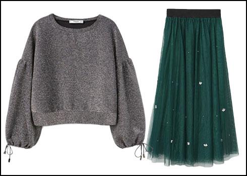חצאית טול בגוון ירוק בקבוק, 299 שקל; חולצה עם שרוולים נפוחים, 159 שקל