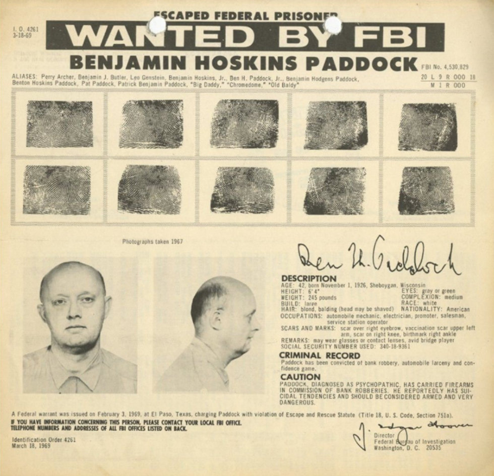 Paddock's father, wanted criminal Benjamin Paddock