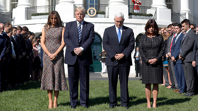 President Trump, Vice President Pence and their wives observing a moment of silence for the victims of the deadly attack (Photo: AP) (Photo: AP)
