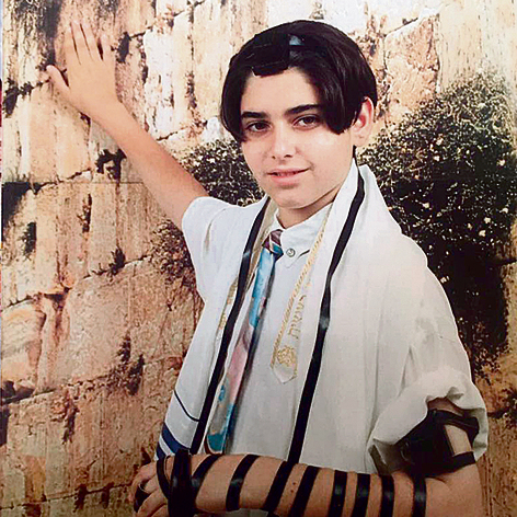 Gitzin at 13 celebrating his bar mitzvah at the Western Wall