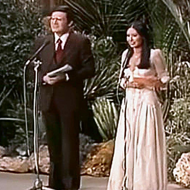 """דניאל פאר בהנחיית האירוויזיון בשנת 79', עם ירדנה ארזי. """"זה היה אחד השיאים בקריירה של אבא"""""""