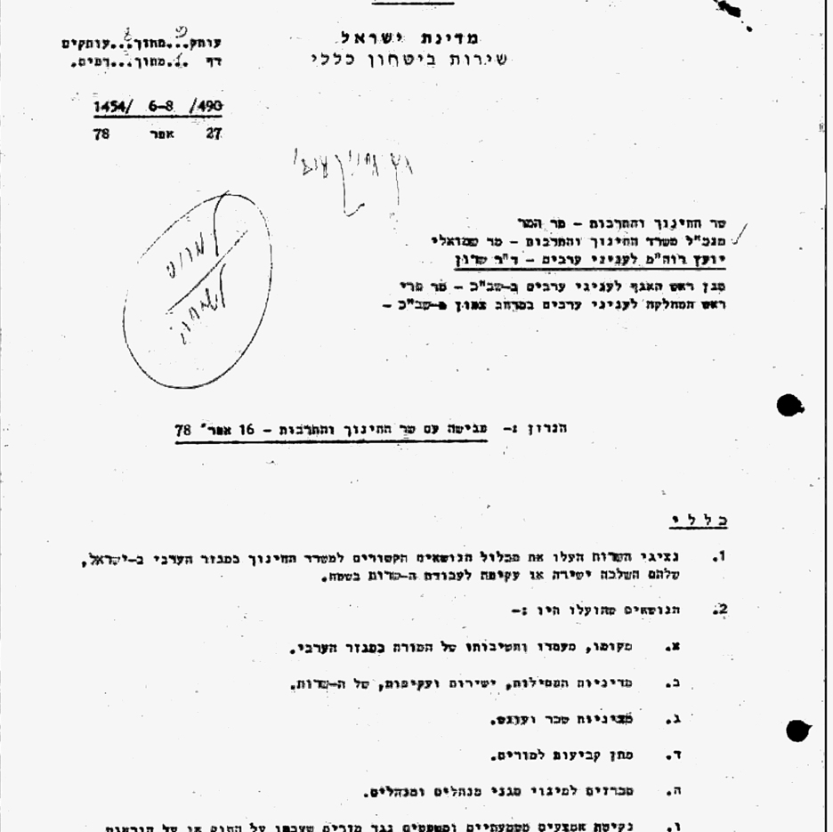 The Shin Bet document regulating its activity in the education system