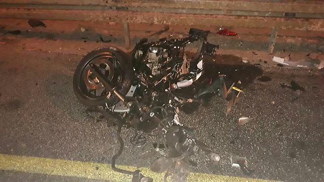 האופנוע בזירת התאונה בצומת ירכא