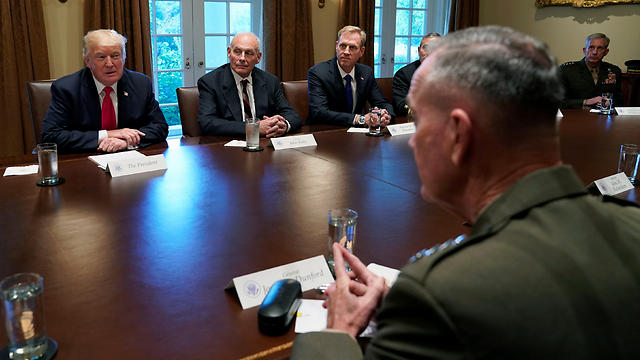 US President Donald Trump (L) participates in a briefing with senior military leaders at the White House in Washington, US, October 5, 2017 (Photo: Reuters)