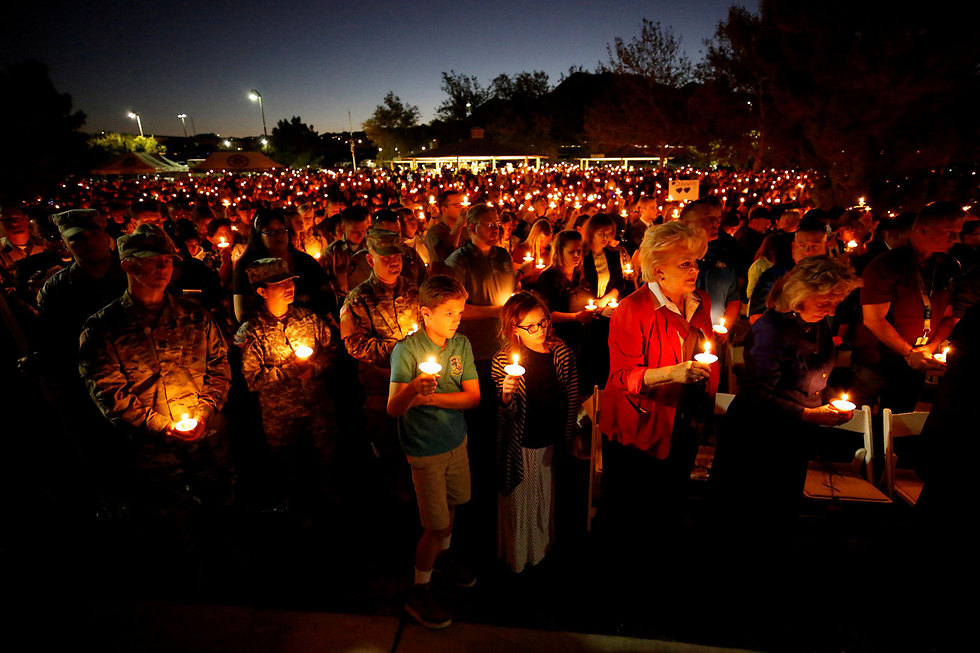 טקס זיכרון לשוטר שנהרג בטבח בלאס וגאס ( צילום: רויטרס)