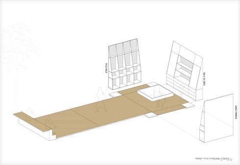 הקונספט: קופסא ששתיים מדופנותיה פרושות, ומשמשות את משטח החצר   (תוכנית: סטודיו סטרוקטורה | יוסי שושן)