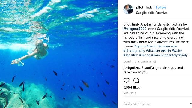 מהאוויר אל מתחת למים (צילום: עמוד האינסטגרם של לינדי מריאלה כץ)