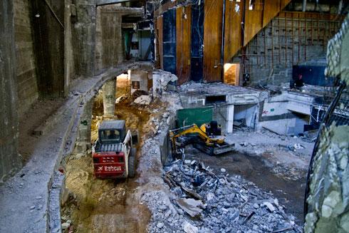 החפירות. שיפוץ ההיכל היה מבצע מורכב וארוך (צילום: יניב ברמן)