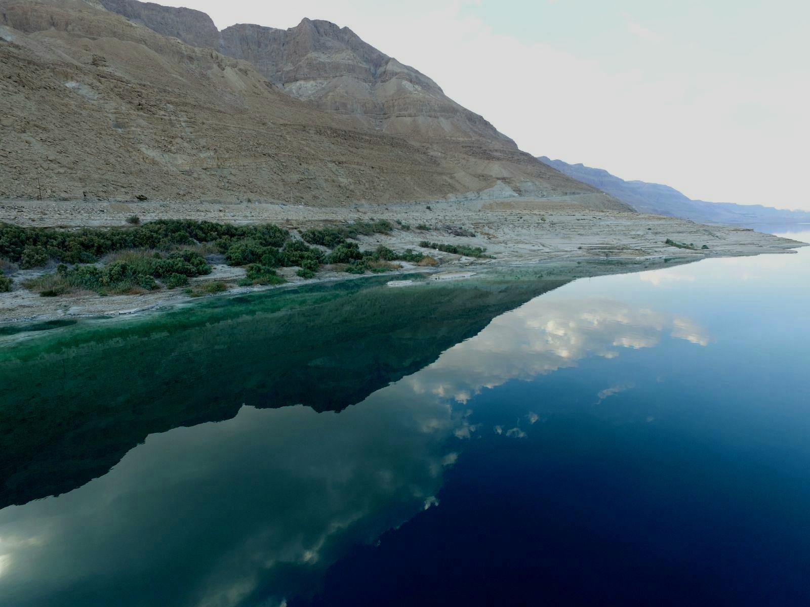 """""""המפגש המנוגד בין מי הים הכחולים לבין ההרים המדבריים"""" (צילום: עומר דרור וניצן דרור)"""