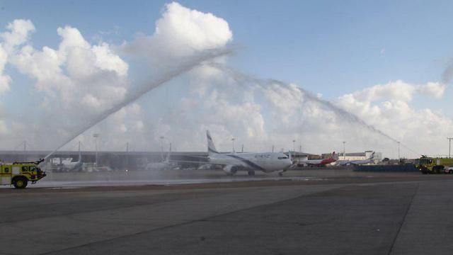 Aviram's Boeing 737 hosed down following his final flight
