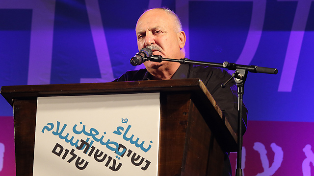 Former MK Shnaan, who lost his son to terrorism, spoke at the rally (Photo: Amit Shabi)