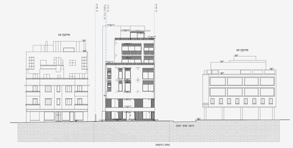 בסופן של הביורוקרטיות וההתנגדויות צפוי לקום כאן בניין יוקרתי שיהיה גבוה בקומה אחת משכניו, ויכלול קומה מסחרית כפולה וחמש קומות מגורים, עם שש דירות ושתי בריכות פרטיות. למעלה חתך החזית שפונה לרחוב שינקין (תוכנית: מתוך archive-binyan.tel-aviv.gov.il)