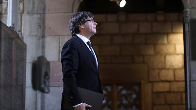 Puigdemont prior to his speech (Photo: AP)