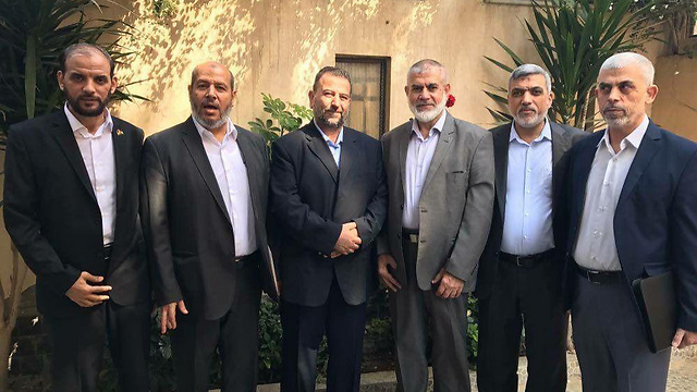 Sinwar (on the far right) with the Hamas delegation to Cairo