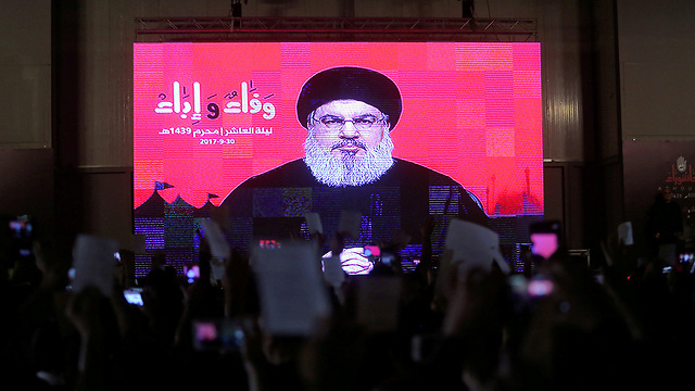 Hezbollah Leader Hassan Nasrallah speaking via video from his hiding spot (Photo: AFP)
