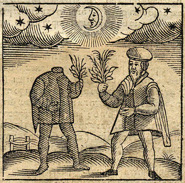 """(באדיבות הספרייה הלאומית. חיתוך עץ מתוך הספר """"מנהגים"""", יצא לאור באמסטרדם בשנת 1661 על ידי אורי וויי)"""