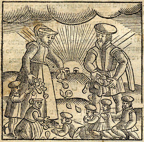 """באיור השלישי אנו עדים למנהג זריקת פירות לילדים בזמן שמחת תורה. לרוב נעשה המנהג בבית הכנסת - אך לא כאן (באדיבות הספרייה הלאומית. חיתוך עץ מתוך הספר """"מנהגים"""", יצא לאור באמסטרדם בשנת 1661 על ידי אורי וויי)"""