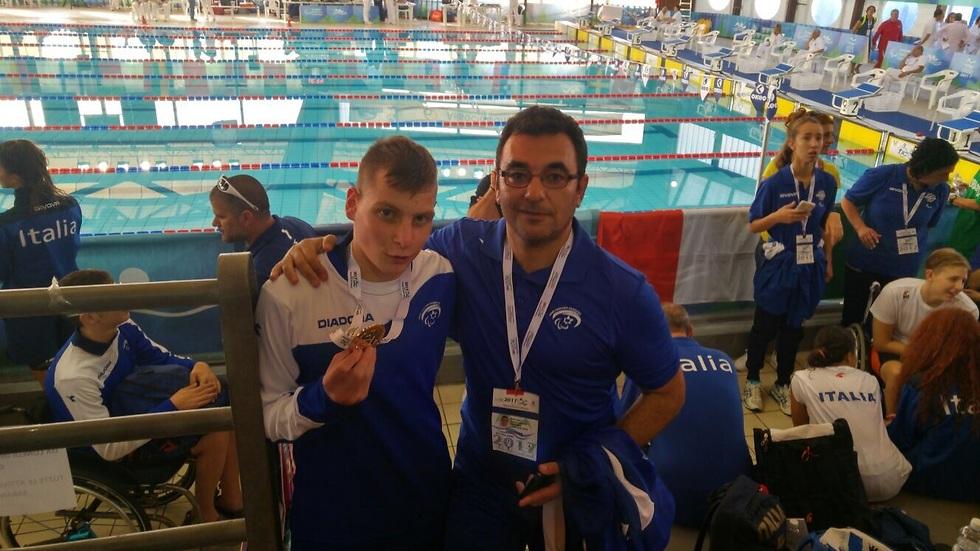 אריק מילאר (משמאל) ויעקב בנינסון מאמנו (צילום: הוועד הפראלימפי) (צילום: הוועד הפראלימפי)