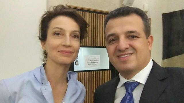 Azoulay with Israeli Ambassador to UNESCO Carmel Shama Hacohen. 'The fact that she's Jewish and left-wing may turn out to be a double-edged sword'