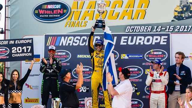 Day hoisting his trophy, the 2017 NASCAR Whelen Euro Series championship (Photo: Stephane Asemard)