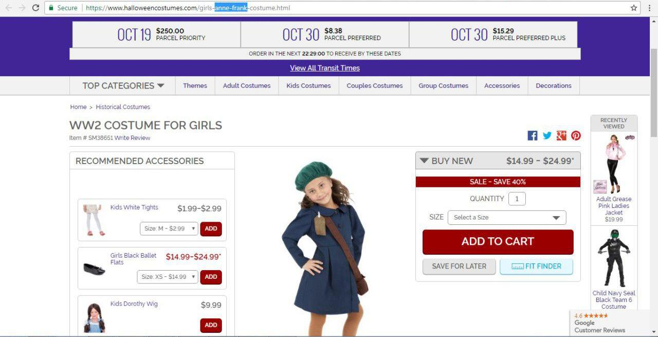 American version labelled as 'WW2 Costume for Girls'