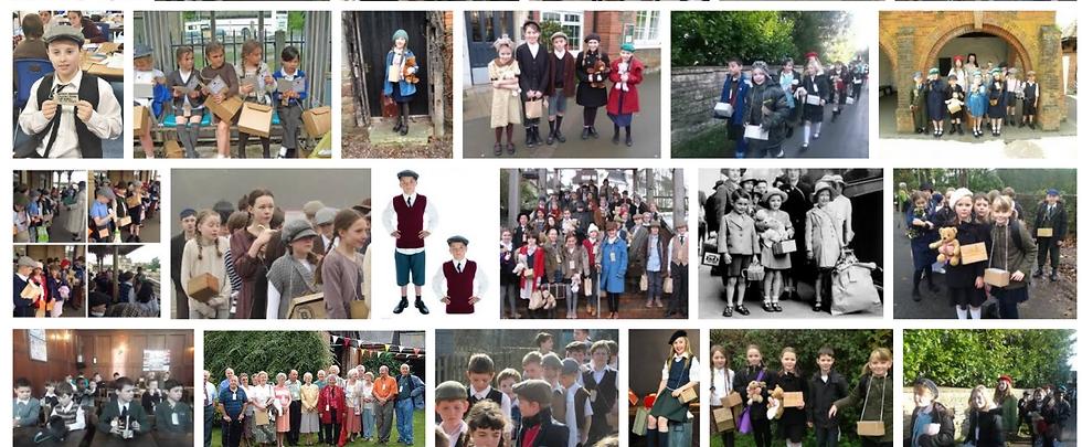 ילדים בריטיים בתחפושות של מפונים במלחמת העולם השנייה